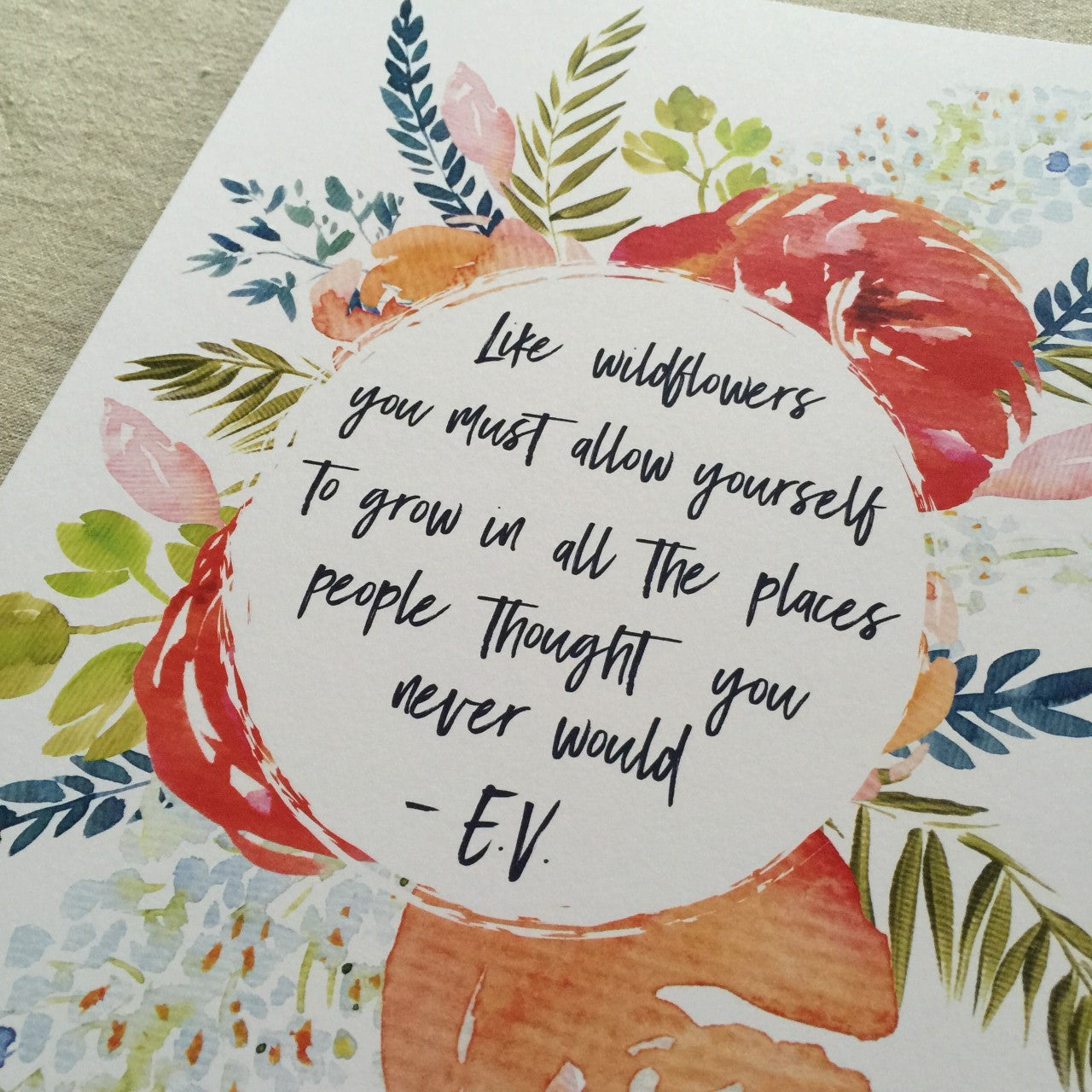 Wildflower Quote A4 Print