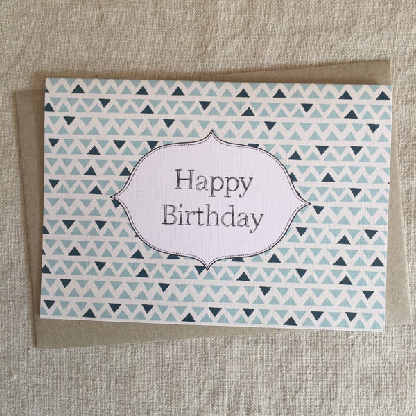 Blue Geo Birthday Card
