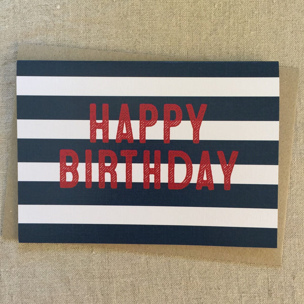 Blue Stripe Birthday Card
