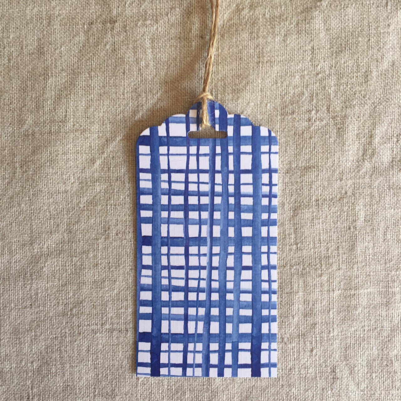 Blue Watercolour Checks Gift Tag
