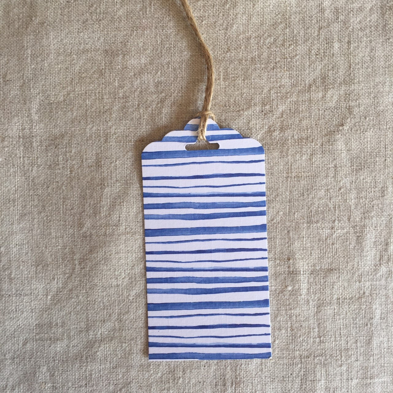Blue Watercolour Stripes Gift Tag