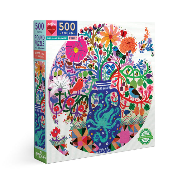 NEW!!! 500 Piece Round Birds & Flowers Jigsaw Puzzle