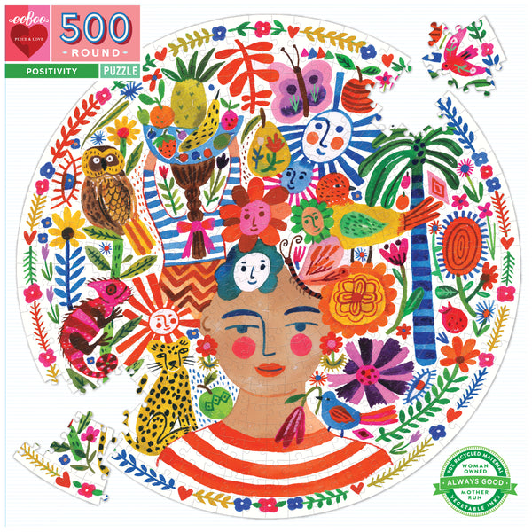 BACK SOON! 500 Piece Round Positivity Frida Jigsaw Puzzle