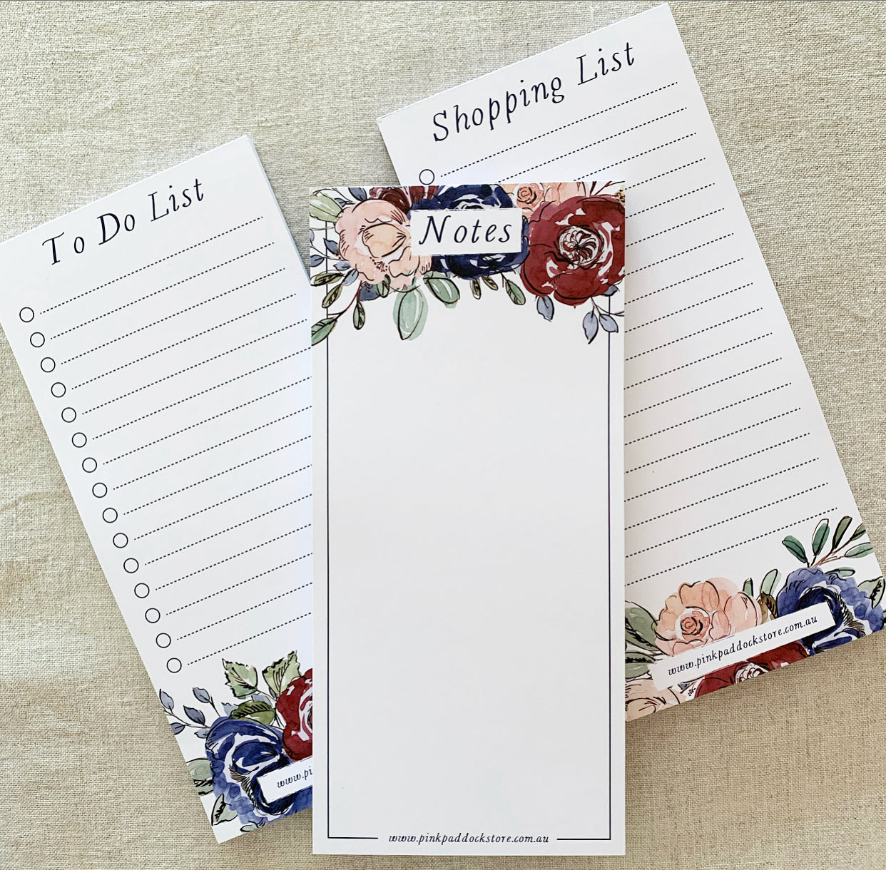 Three Pack 'Rose' DL Notepad Bundle