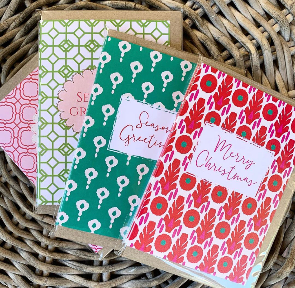 Pink Red Block Christmas Card- Pack of 5 Cards