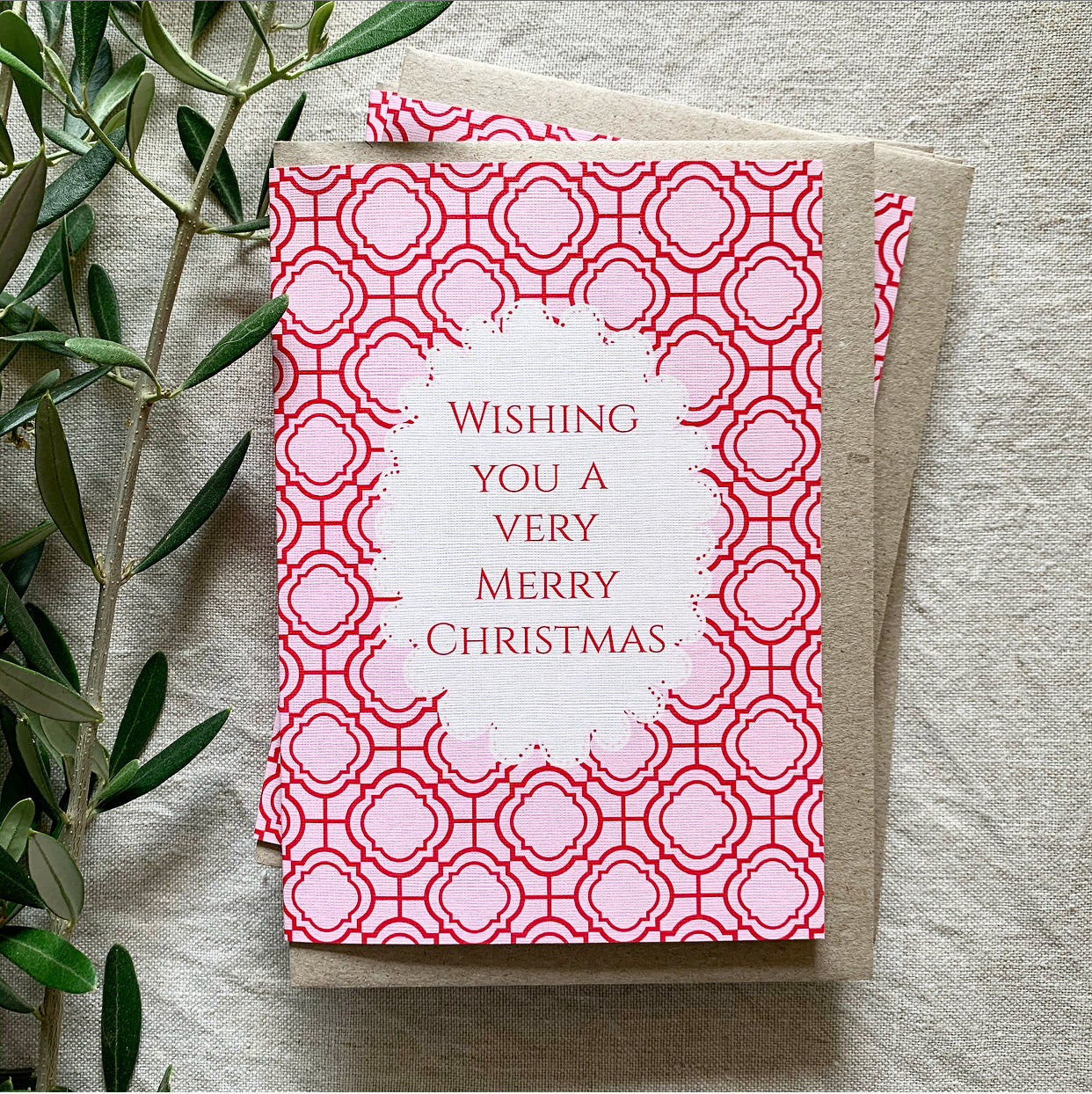 Pink Mosaic Christmas Card- Pack of 5 Cards