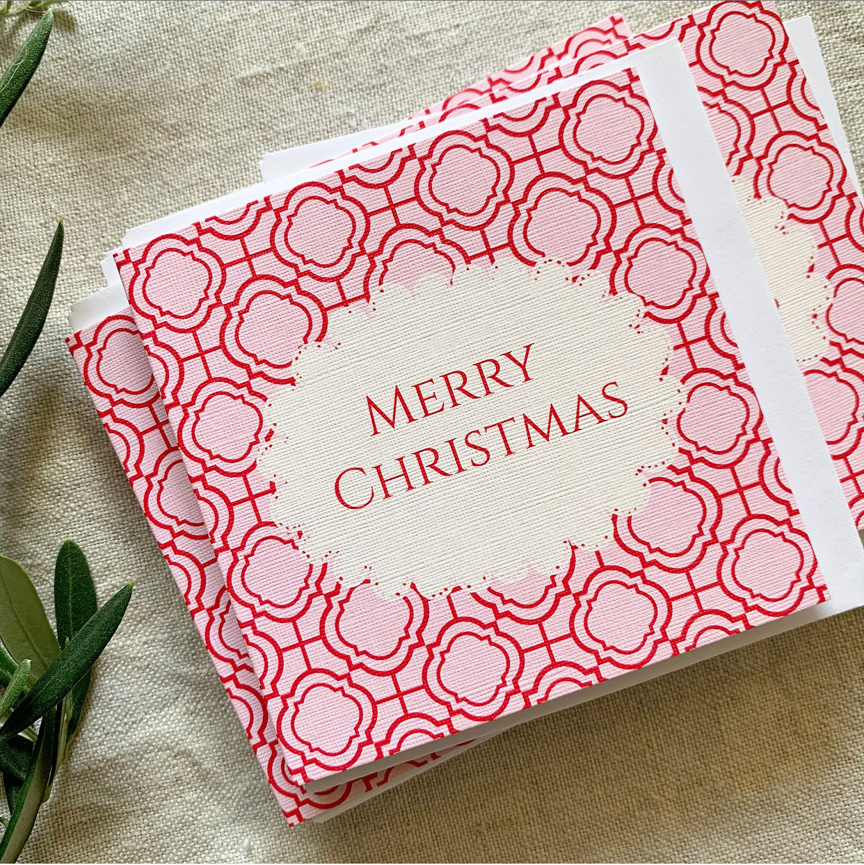 Petit Pink Mosaic Christmas Card- Set of Ten