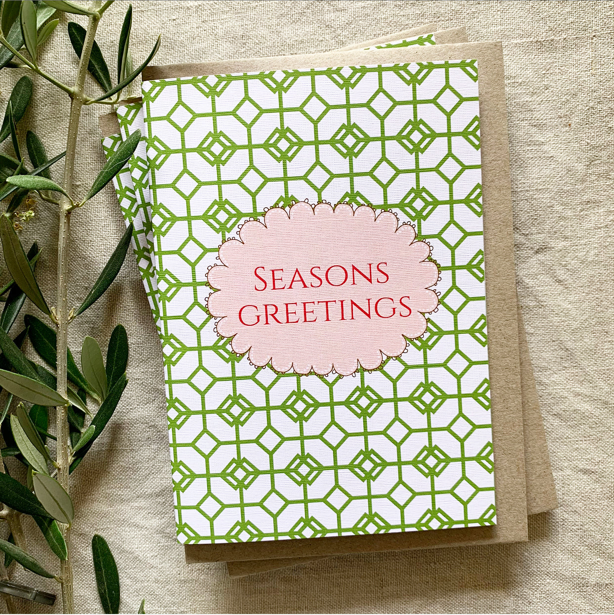 Green Mosaic Seasons Greetings Card- Pack of 5 Cards