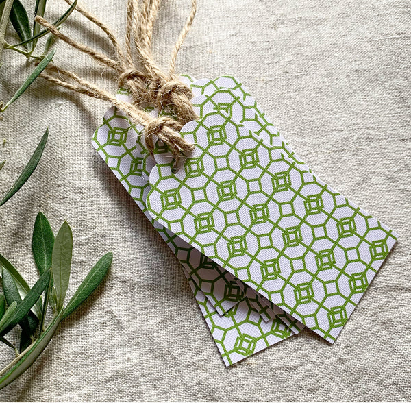 Green Mosaic Gift Tags- Pack of Ten