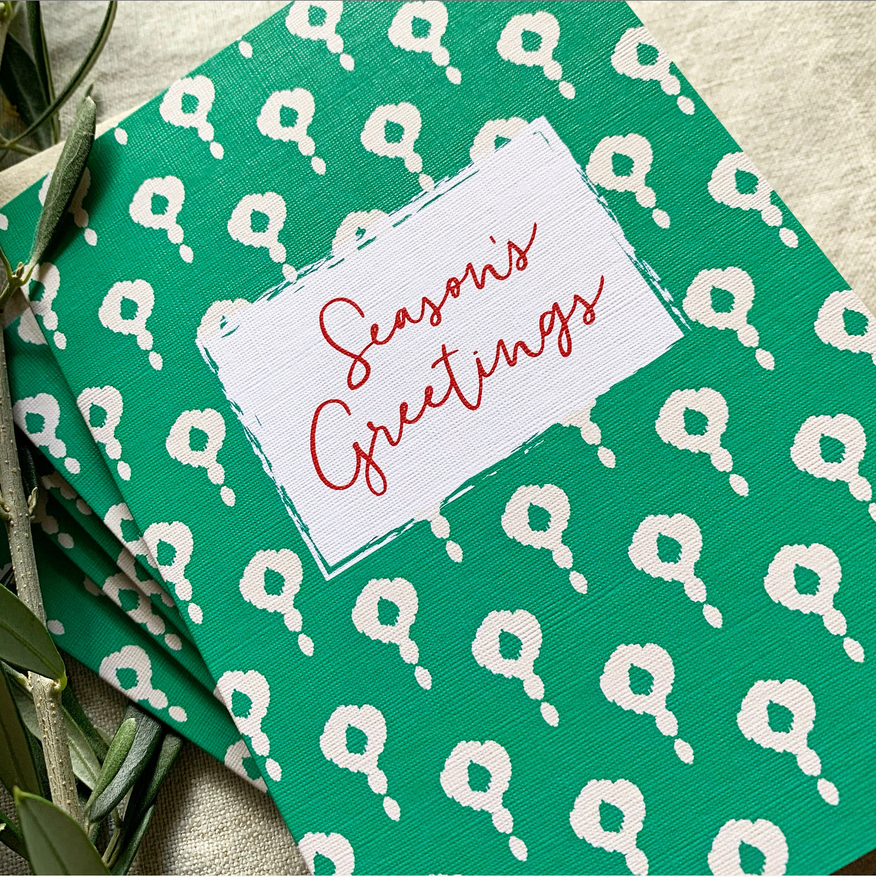 Green Block Christmas Card- Pack of 5 Cards