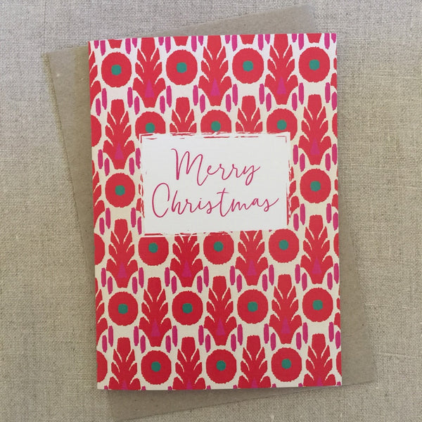 Pink Red Block Christmas Card