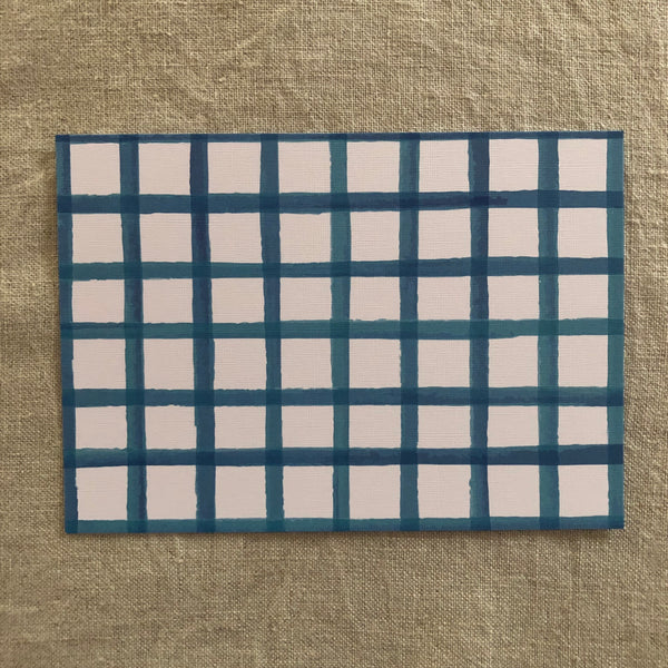 Blue Check Notecard- Pack of Six