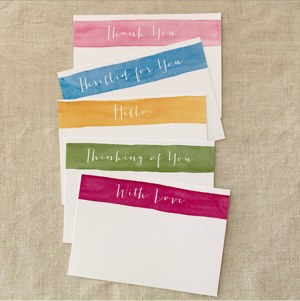 Stripey Watercolour Notecard Set