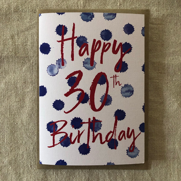 Spotty 30th Birthday Card
