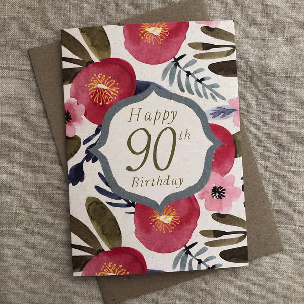 Floral 90th Birthday Card