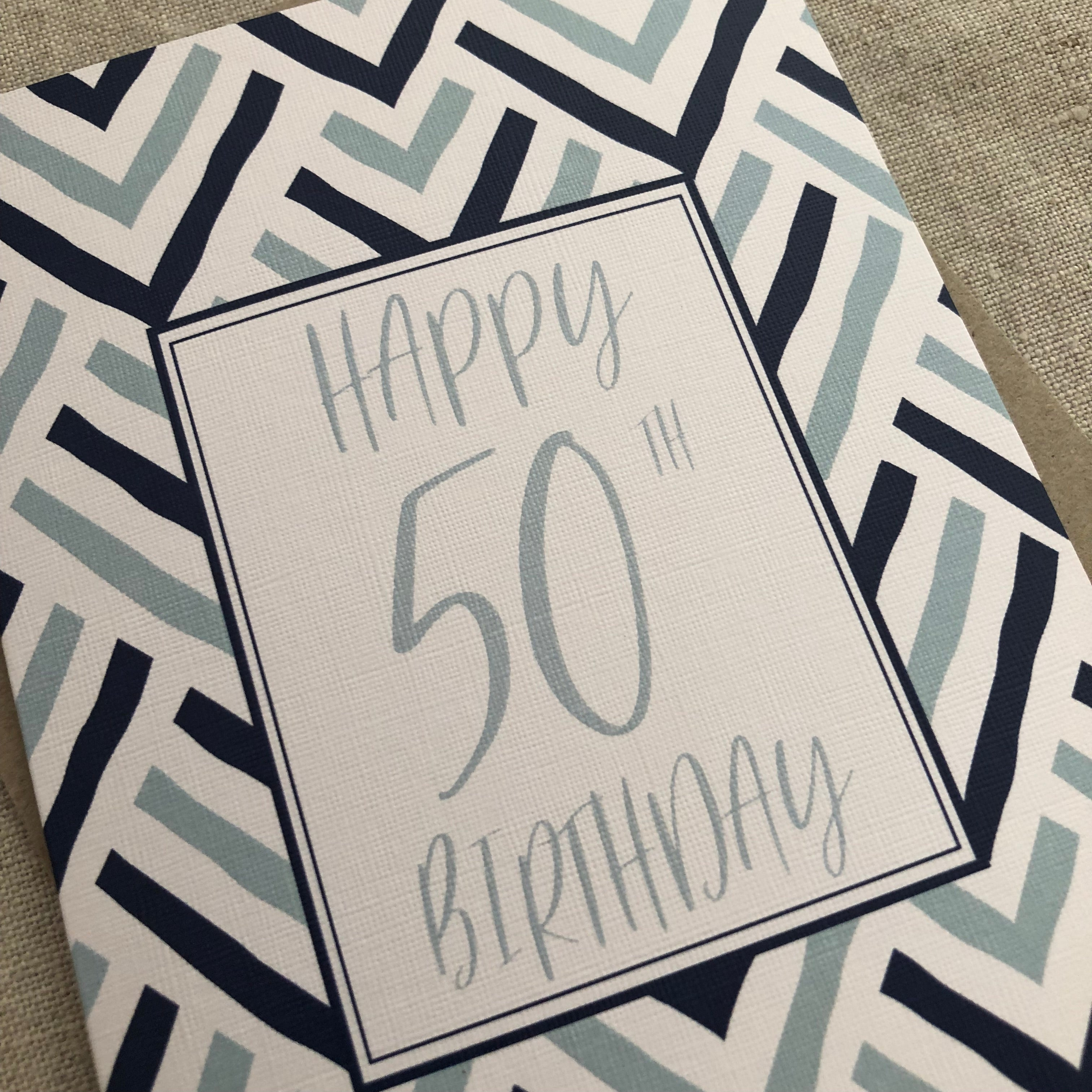 Blue 50th Birthday Card