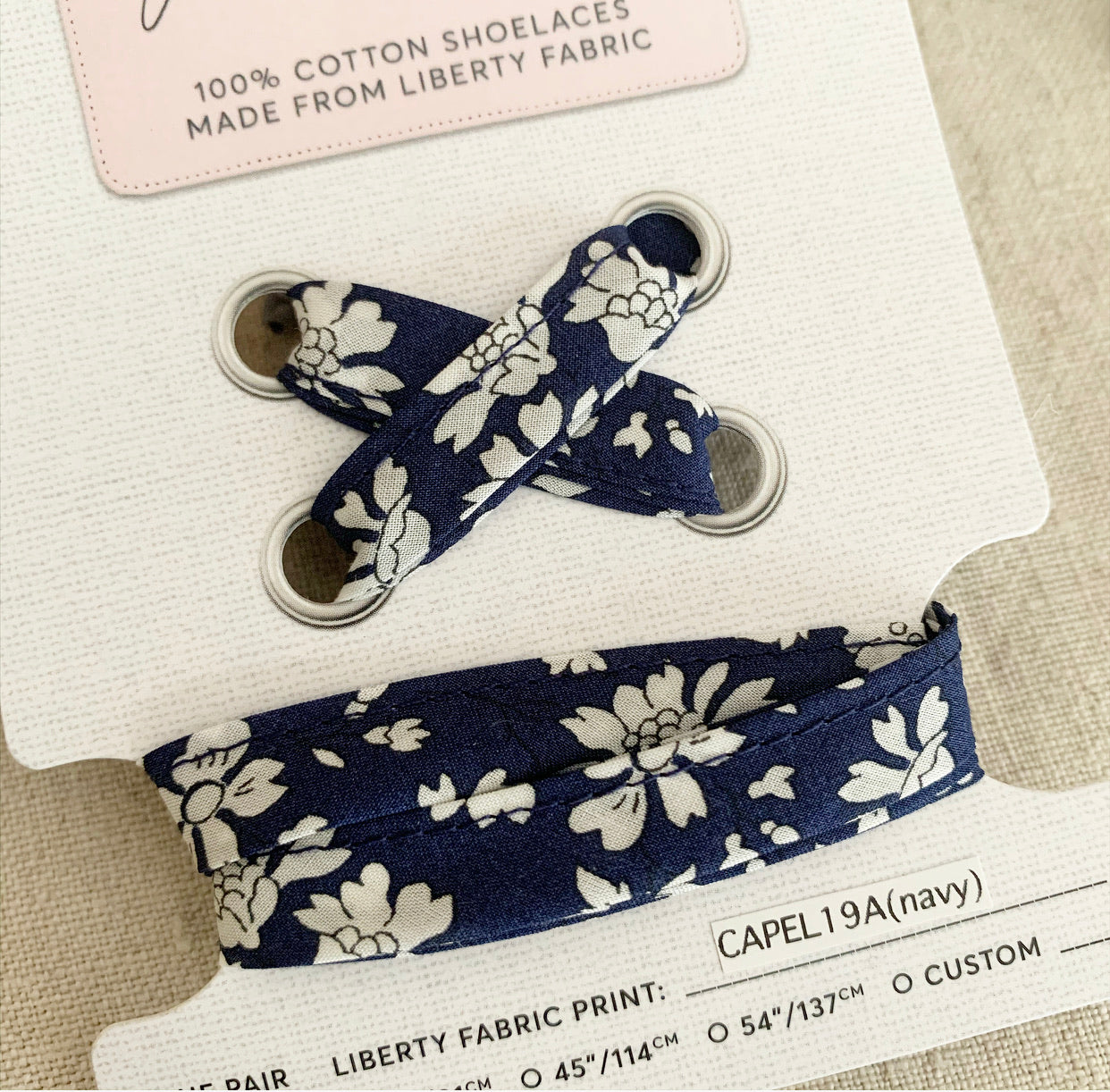 Liberty Shoelaces- Navy Capel