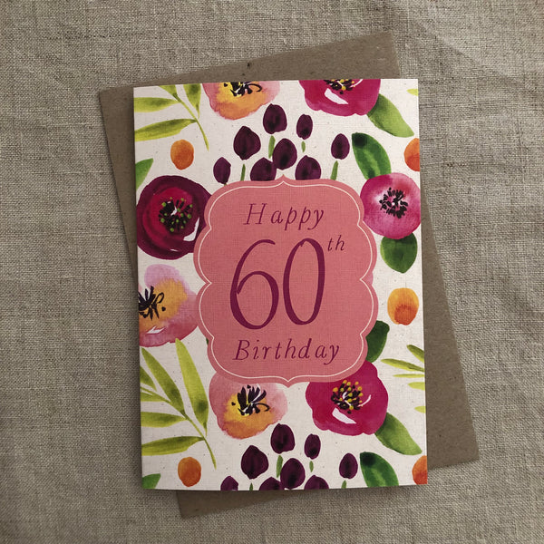 Floral 60th Birthday Card