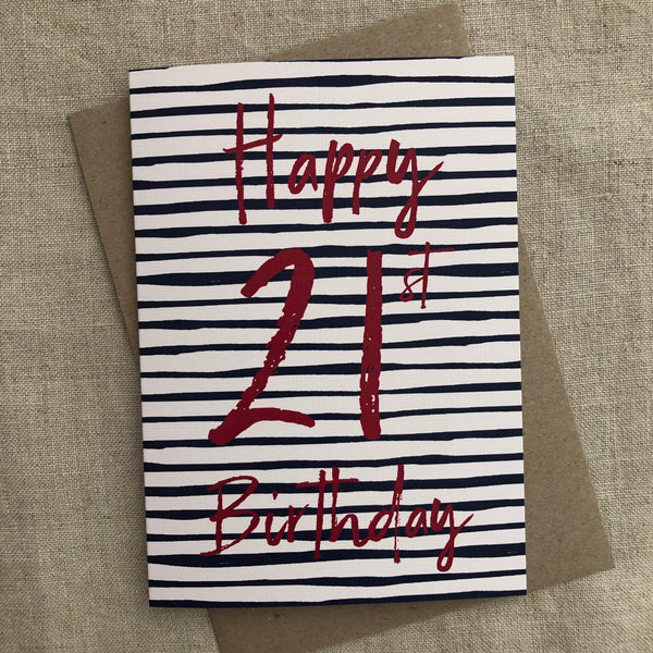 Stripe 21st Birthday Card