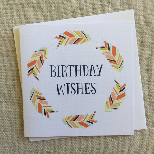 Petit Birthday Feather Wreath Card