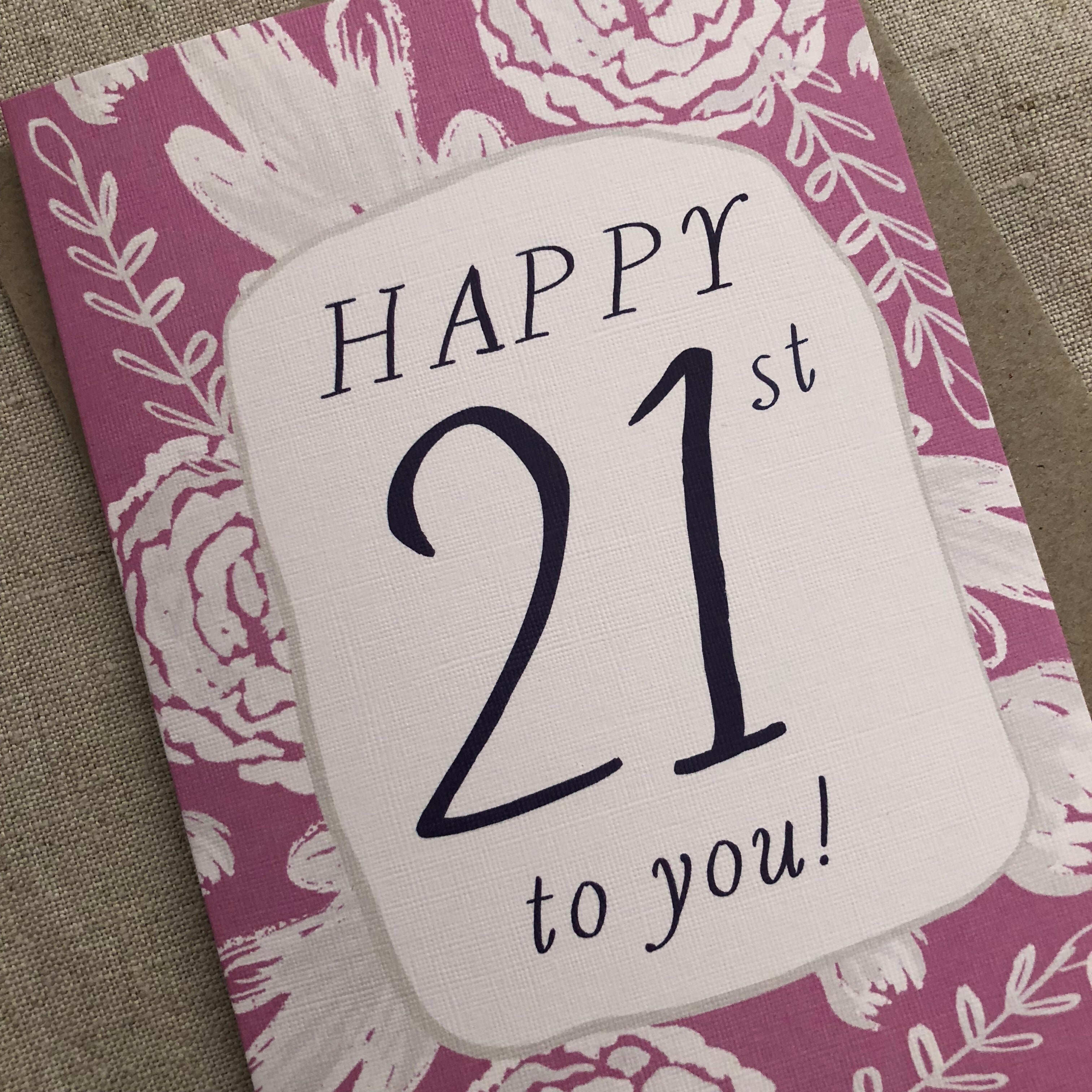 Pink 21st Birthday Card