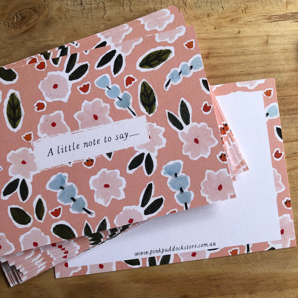 Pink Garden Notecard- Pack of Six