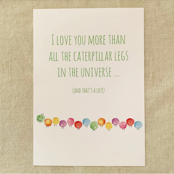 A4 Caterpillar Love Print