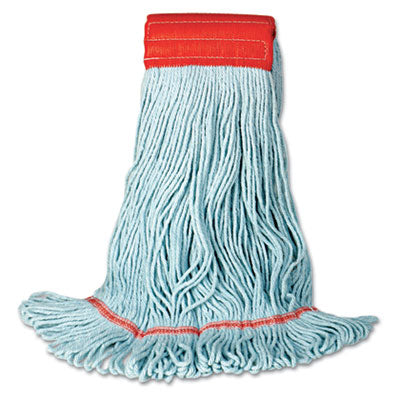Mop Heads-Wet - Boardwalk® EcoMop with Looped-End Wet Head Synthetic/Cotton, Large, Blue, 12/Carton - Office Ready