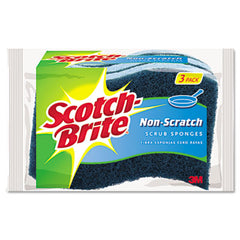 Scotch-Brite® Non-Scratch Multi-Purpose Scrub Sponge 4 2/5 x 2 3/5, Blue, 3/Pack