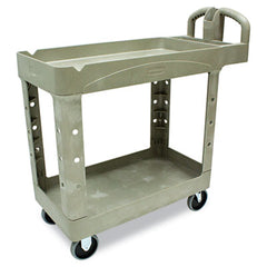 Rubbermaid® Commercial Heavy-Duty Utility Cart Two-Shelf, 17-1/8w x 38-1/2d x 38-7/8h, Beige