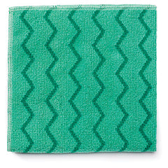 Rubbermaid® Commercial Microfiber Cleaning Cloths Microfiber, 16 x 16, Green, 12/Carton
