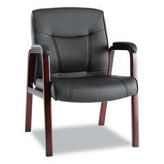 Alera® Madaris Series Leather Guest Chair with Wood Trim Legs, Four Legs, Black/Mahogany