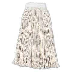 Boardwalk® Cut-End Wet Mop Heads, Cotton, #16, White, 12/Carton