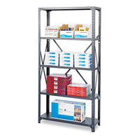 Safco® Heavy-Duty Commercial Steel Shelving Unit Five-Shelf, 36w x 12d x 75h, Dark Gray Shelving Units-Multiuse Shelving-Open - Office Ready