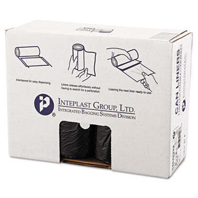 Inteplast Group High-Density Interleaved Commercial Can Liners 40 x 48, 45gal, 22mic, Black, 25/Roll, 6 Rolls/Carton Bags-Waste Can Liner - Office Ready