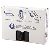 Inteplast Group High-Density Interleaved Commercial Can Liners 40 x 48, 45gal, 12mic, Black, 25/Roll, 10 Rolls/Carton Bags-Waste Can Liner - Office Ready