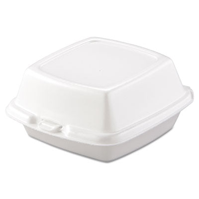 Dart® Foam Hinged Lid Containers, Foam, 1-Comp, 5 7/8 x 6 x 3, White, 500/Carton Food Containers-Takeout Clamshell, Foam - Office Ready