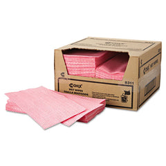 Chix® Wet Wipes, 11 1/2 x 24, White/Pink, 200/Carton