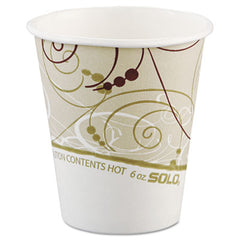 Dart® Paper Hot Cups in Symphony® Design, Polylined, 6oz, Beige/White, 1000/Carton