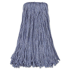 Boardwalk® Cut-End Wet Mop Heads Standard Head, Cotton/Synthetic Fiber, Cut-End, #24, Blue, 12/Carton