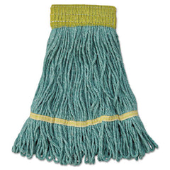 "Boardwalk® Super Loop Wet Mop Head, Cotton/Synthetic Fiber, 5"" Headband, Small Size, Green, 12/Carton"