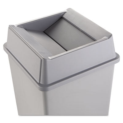Waste Receptacle Lids-Square Hood, Swing Door - Rubbermaid® Commercial Untouchable® Square Swing Top Lid Plastic, 20 1/8 x 20 1/8 x 6 1/4, Gray - Office Ready - 1
