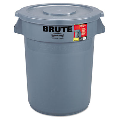 Rubbermaid® Commercial Brute® Container Round, Plastic, 32gal, Gray Waste Receptacles-Round, Open Top - Office Ready
