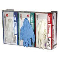 San Jamar® Clear Plexiglas® Disposable Glove Dispenser, Three-Box Three-Box, 18w x 3 3/4d x 10h Glove Dispensers-Multi-Box - Office Ready