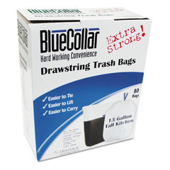 BlueCollar Drawstring Trash Bags 13gal, 0.8mil, 24 x 28, White, 80/Box