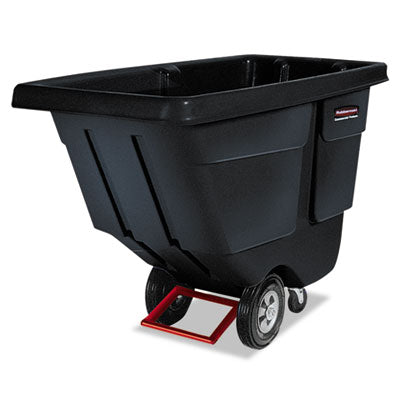 Rubbermaid® Commercial Rotomolded Tilt Truck, Rectangular, Plastic, 850lb Cap, Black Waste Receptacles-Hoppers & Tilt Trucks - Office Ready