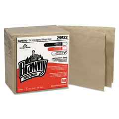 Georgia Pacific® Professional Brawny Industrial® Light Duty Three-Ply Paper Wipers, Quarterfold, 13x13, Brown, 50/PK, 12/CT