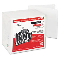 Georgia Pacific® Professional Brawny Industrial® Medium Duty Premium DRC 1/4-Fold Wipes, Quarterfold, 12 1/2 x 13, White, 65/PK
