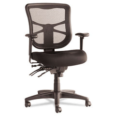 Alera® Elusion™ Series Mesh Mid-Back Multifunction Chair, Supports up to 275 lbs, Black Seat/Black Back, Black Base