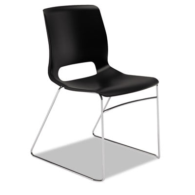 HON® Motivate® High-Density Stacking Chair Onyx/Chrome, 4/Carton Chairs/Stools-Folding/Nesting Chair - Office Ready